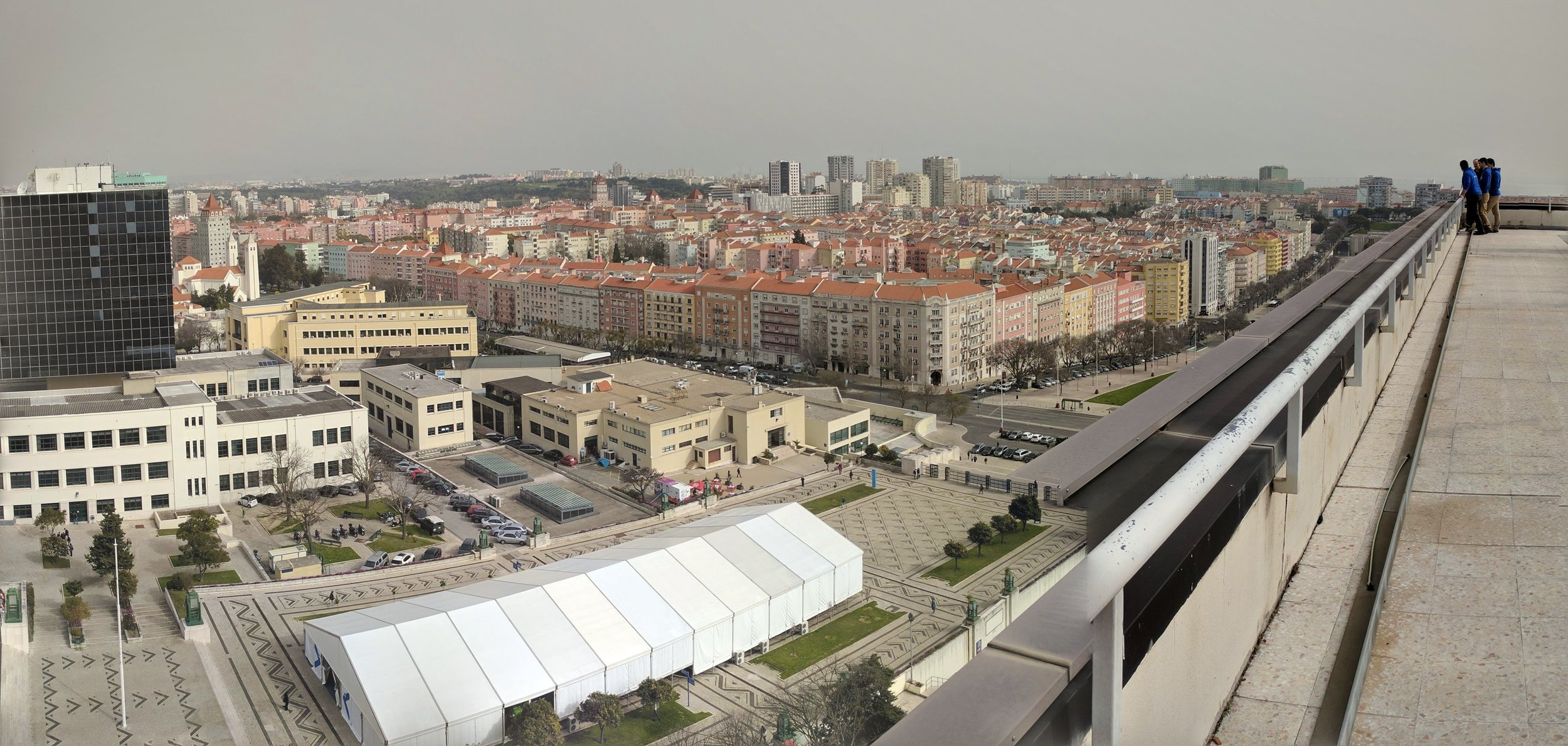From the top of one of the IST towers, looking down on the SINFO tent