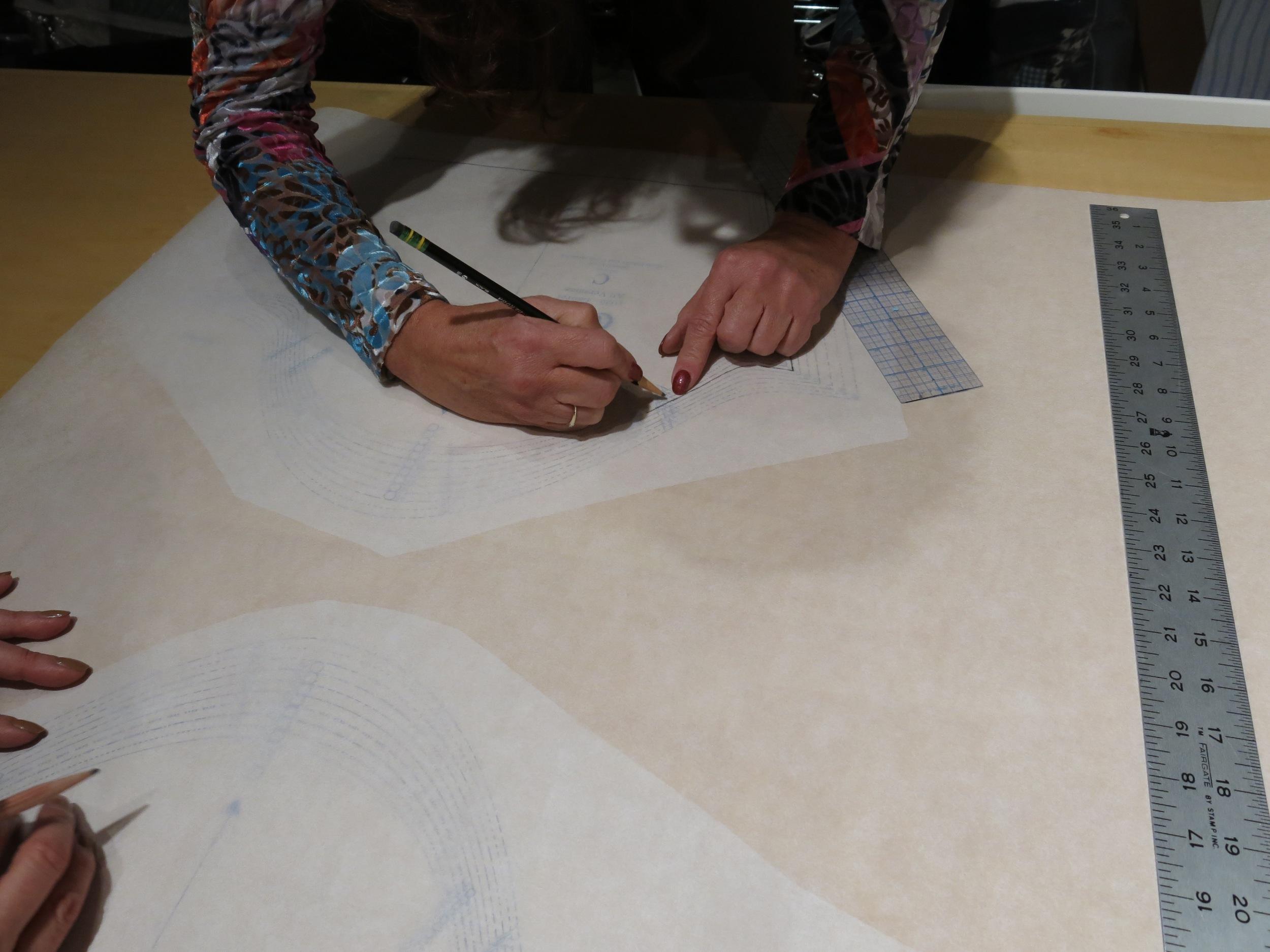 My students tracing their patterns in Working with a Commercial Sewing Pattern workshop last week.