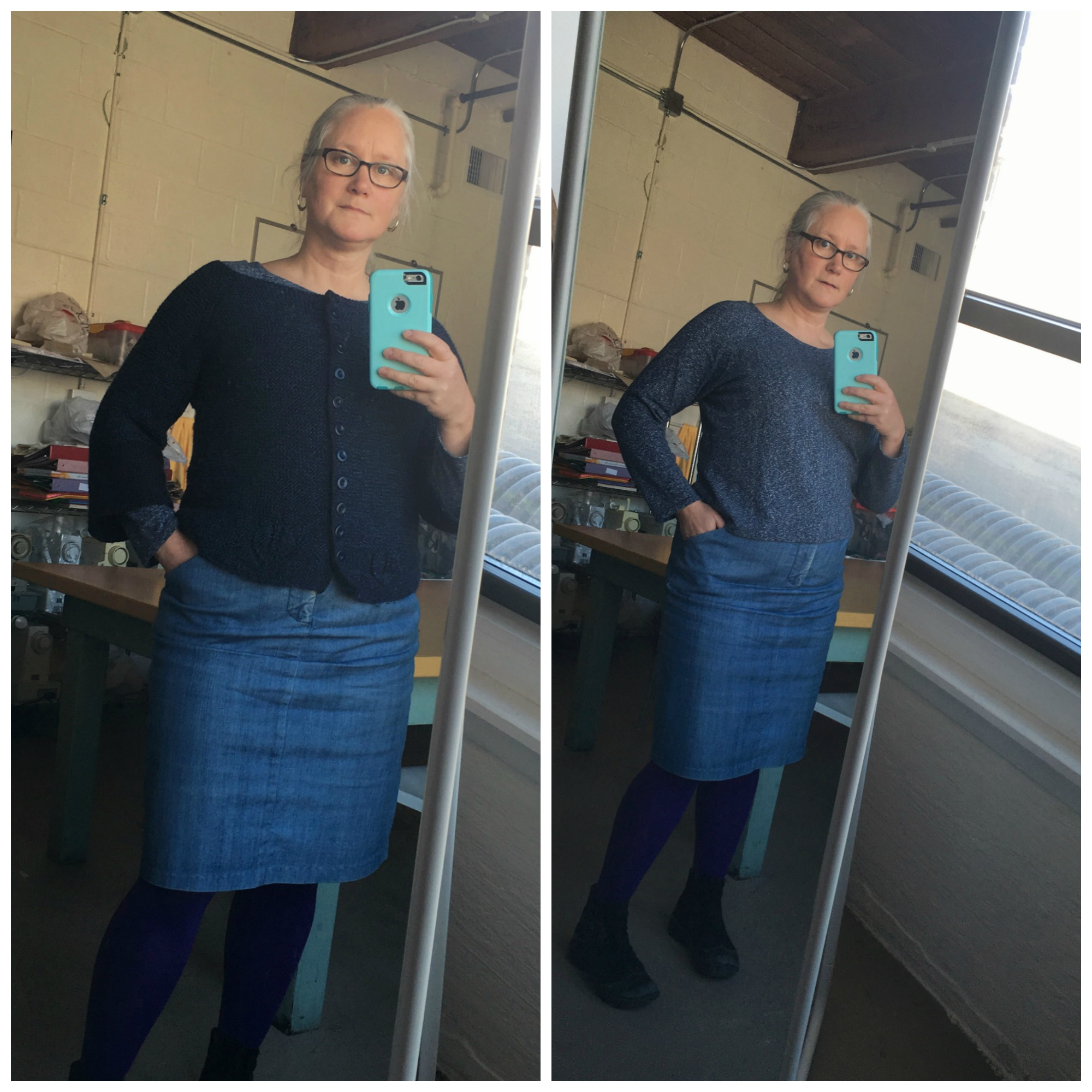 A Linden from October, my trusty denim Moss, and my 2nd Greenfield Cardi...