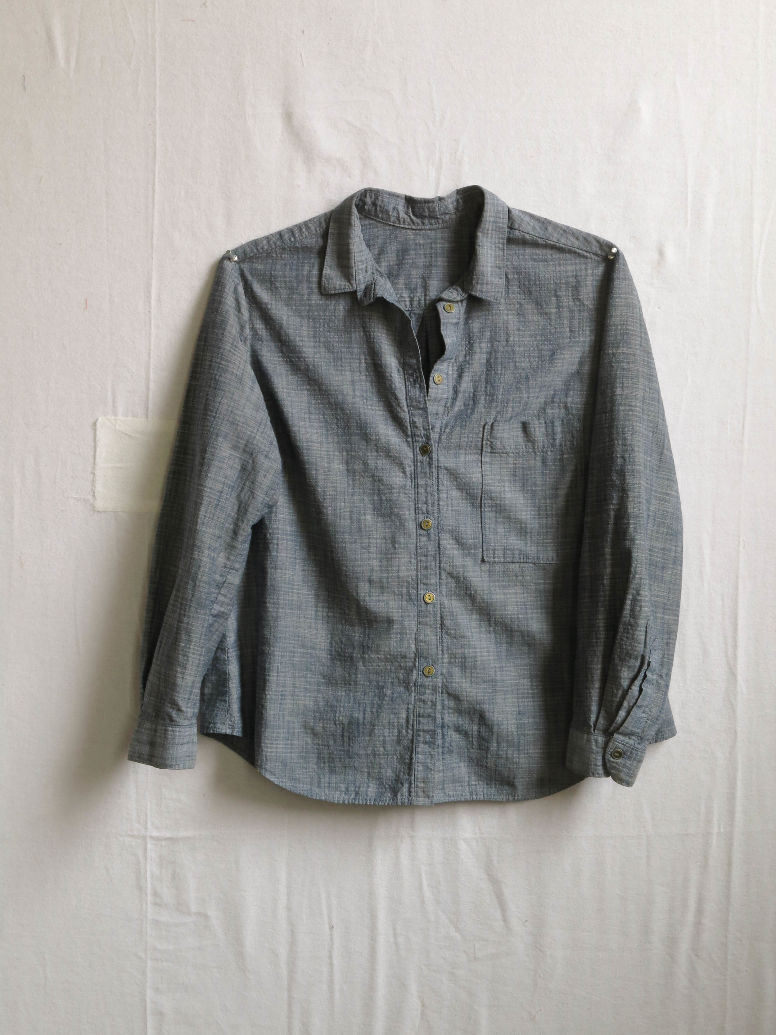 An Archer shirt, pattern by Jen Beeman of Grainline Studio, in chambray from Robert Kaufman.