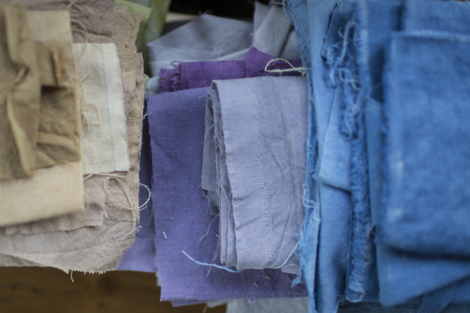 Some of the beautiful colors Jessica Lewis Stevens makes with natural dyestuffs.