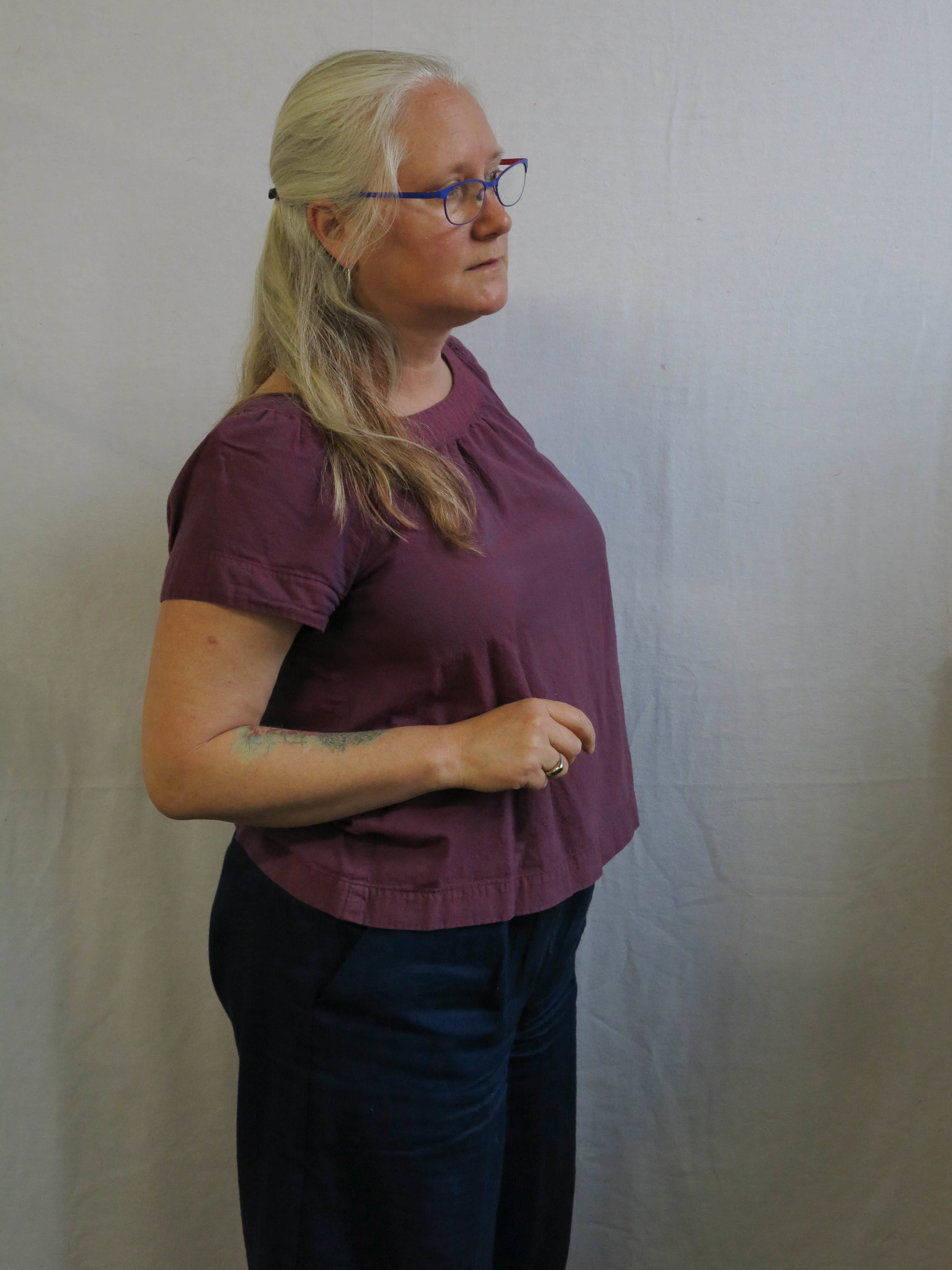 A much worn Sailor top in shot cotton with my Navy Flint pants.