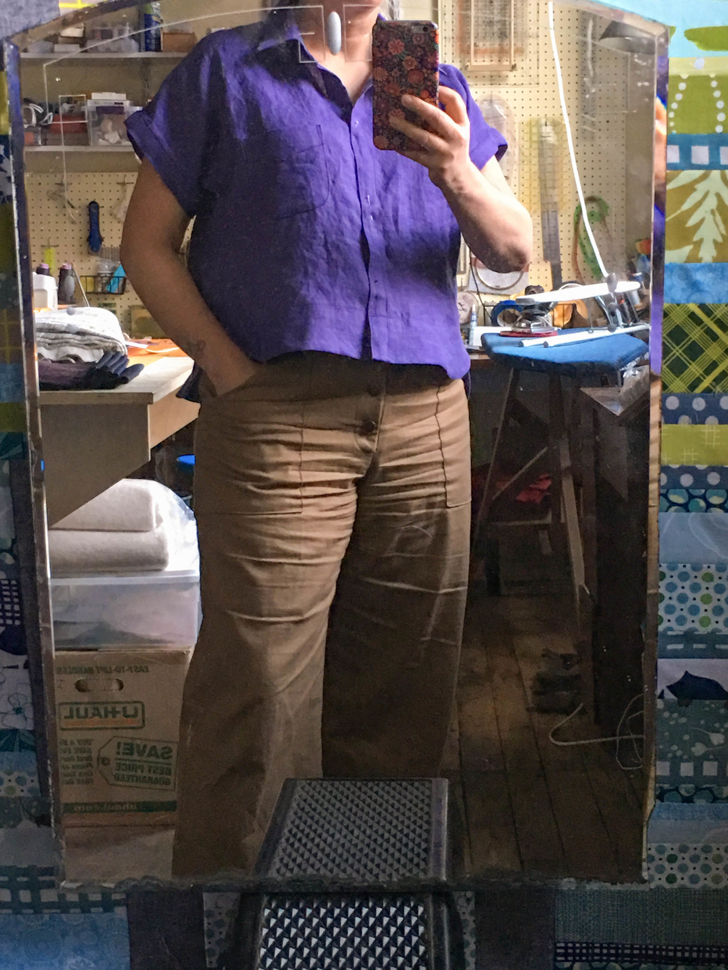 those chocolate landers. a linen cropped kalle
