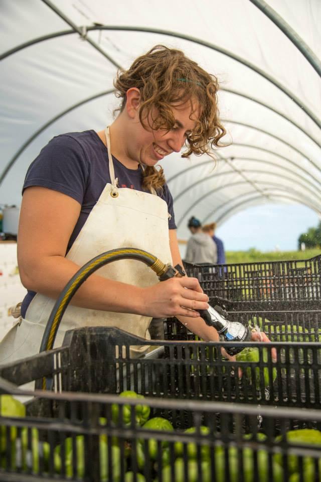Jana washing peppers!