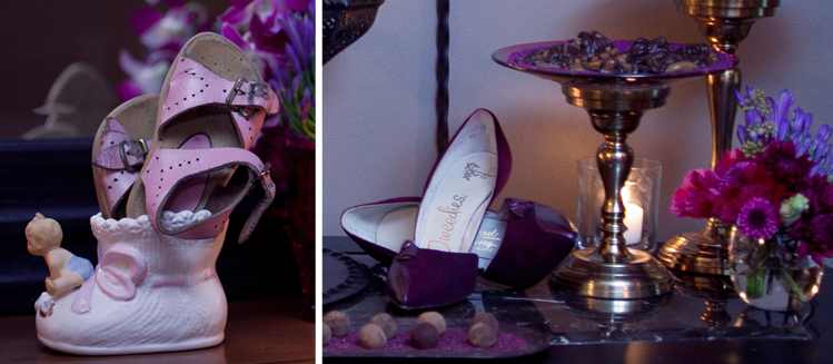 We used the guest of honor's baby shoes and a shoe decoration from her nursery as part of party decor. Photo by Mollie Wetta Photography