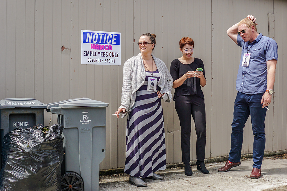 Nancy Clements, Chel Rial, Marc Stokes, outside Hamco Industry Headquarters