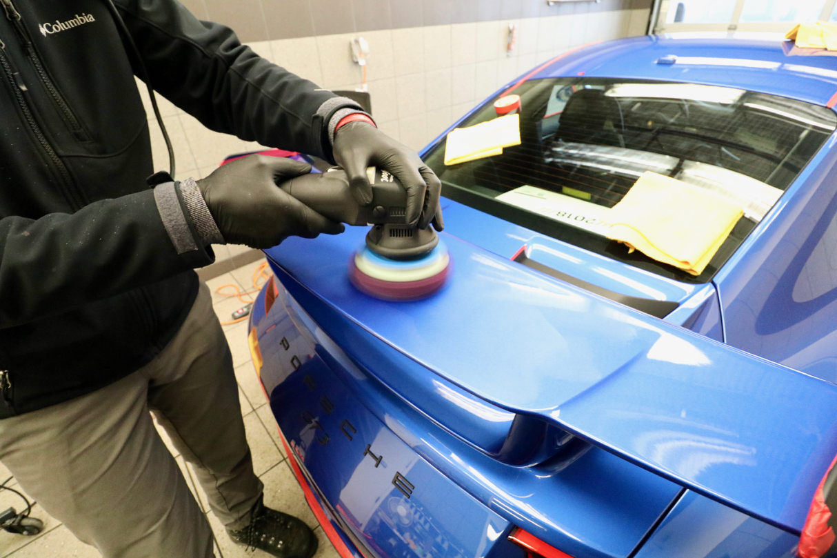 Factory Sanding Marks being corrected prior to film installation