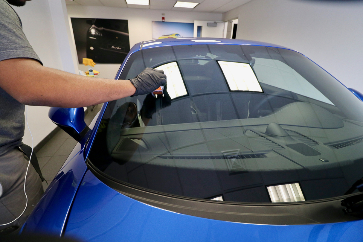 FlyByForte Glass coating being applied