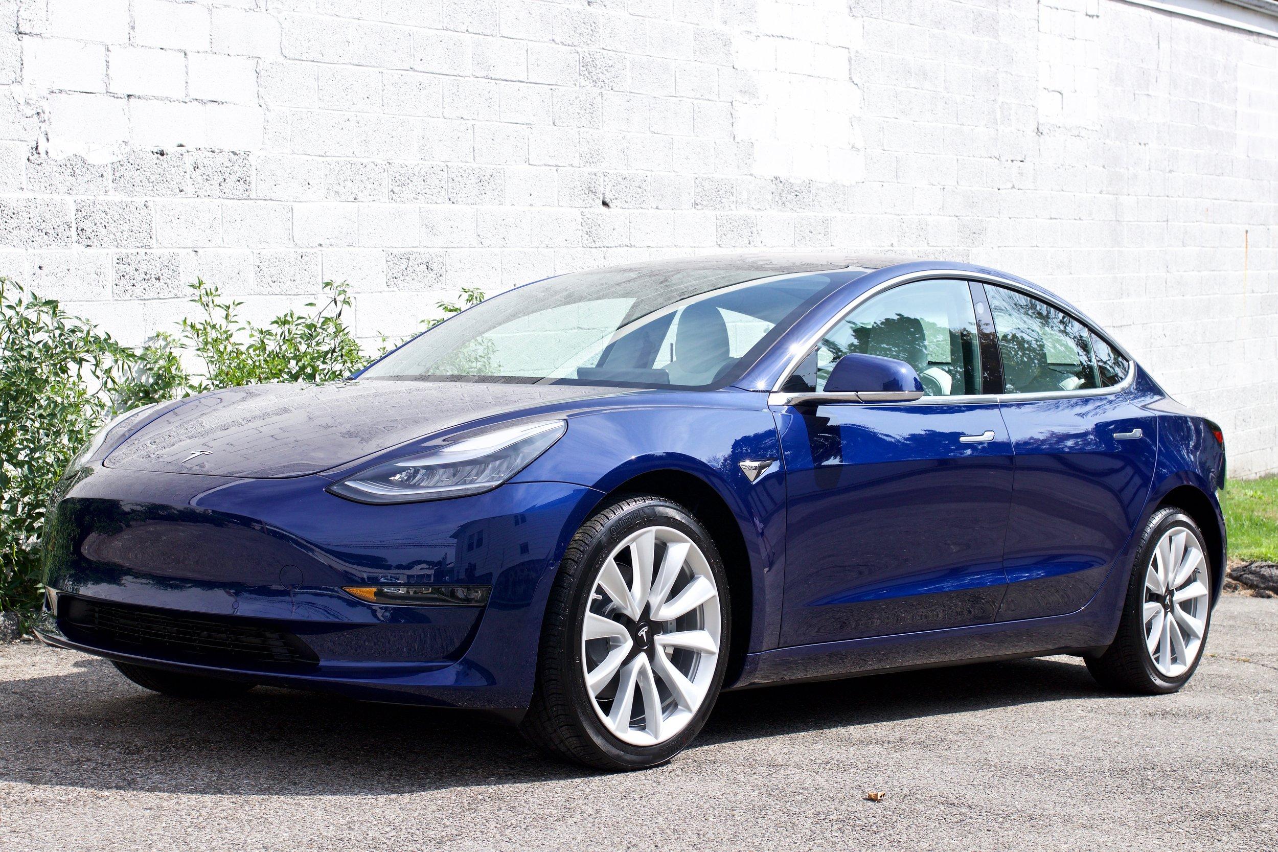 Deep Blue Metallic Tesla Model 3 - Paint Protection Film - New Car Detail - CQuartz Finest Reserve