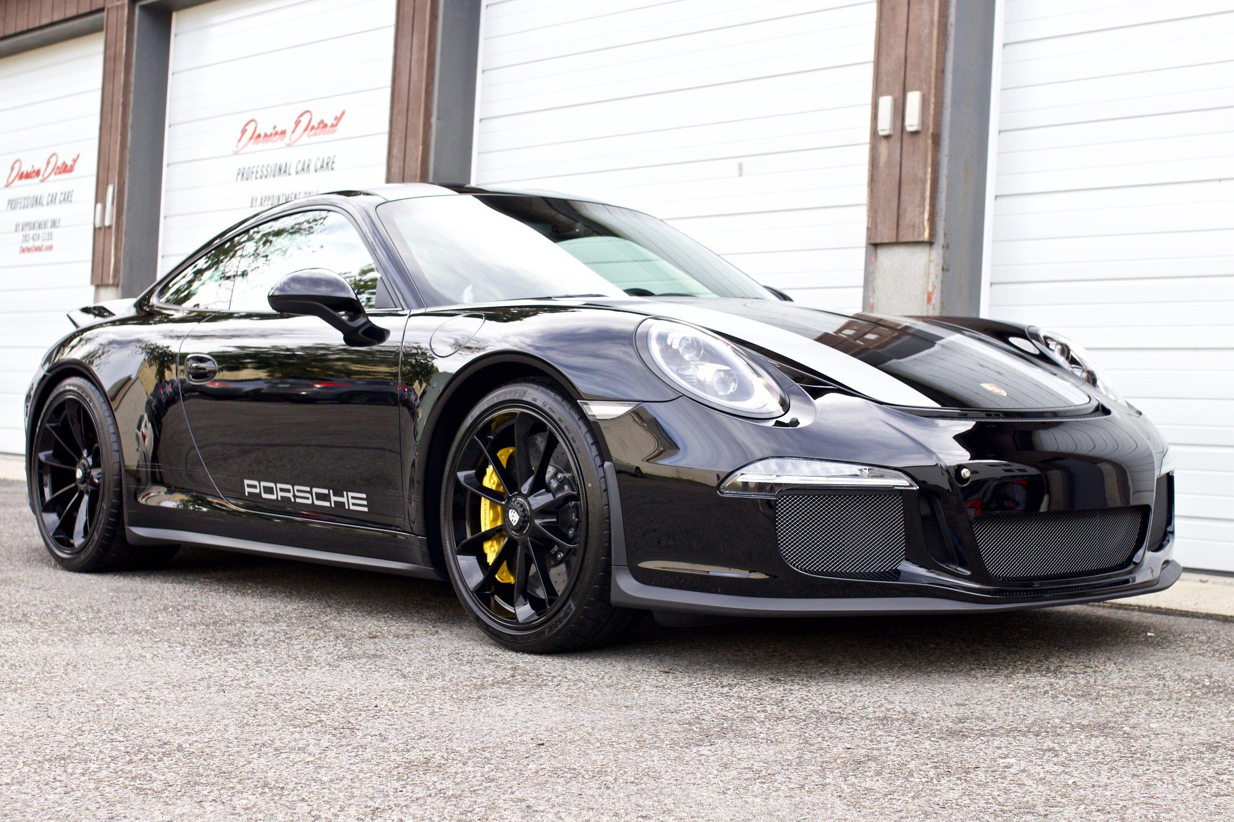 Black Porsche 911 R Full Body Wrap In Xpel Paint Protection Film Darien Detail