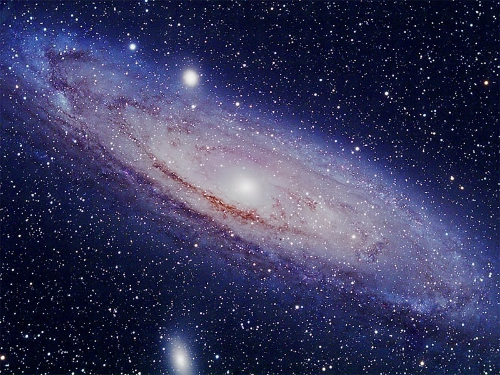Andromeda Galaxy - You can see the core of the Andromeda Galaxy, M31 with the unaided eye.  In fact, this is the farthest thing that you can see with the naked eye.  This is an exposure of about 4.5 hours with an SBIG astronomical camera - ST-8300c.