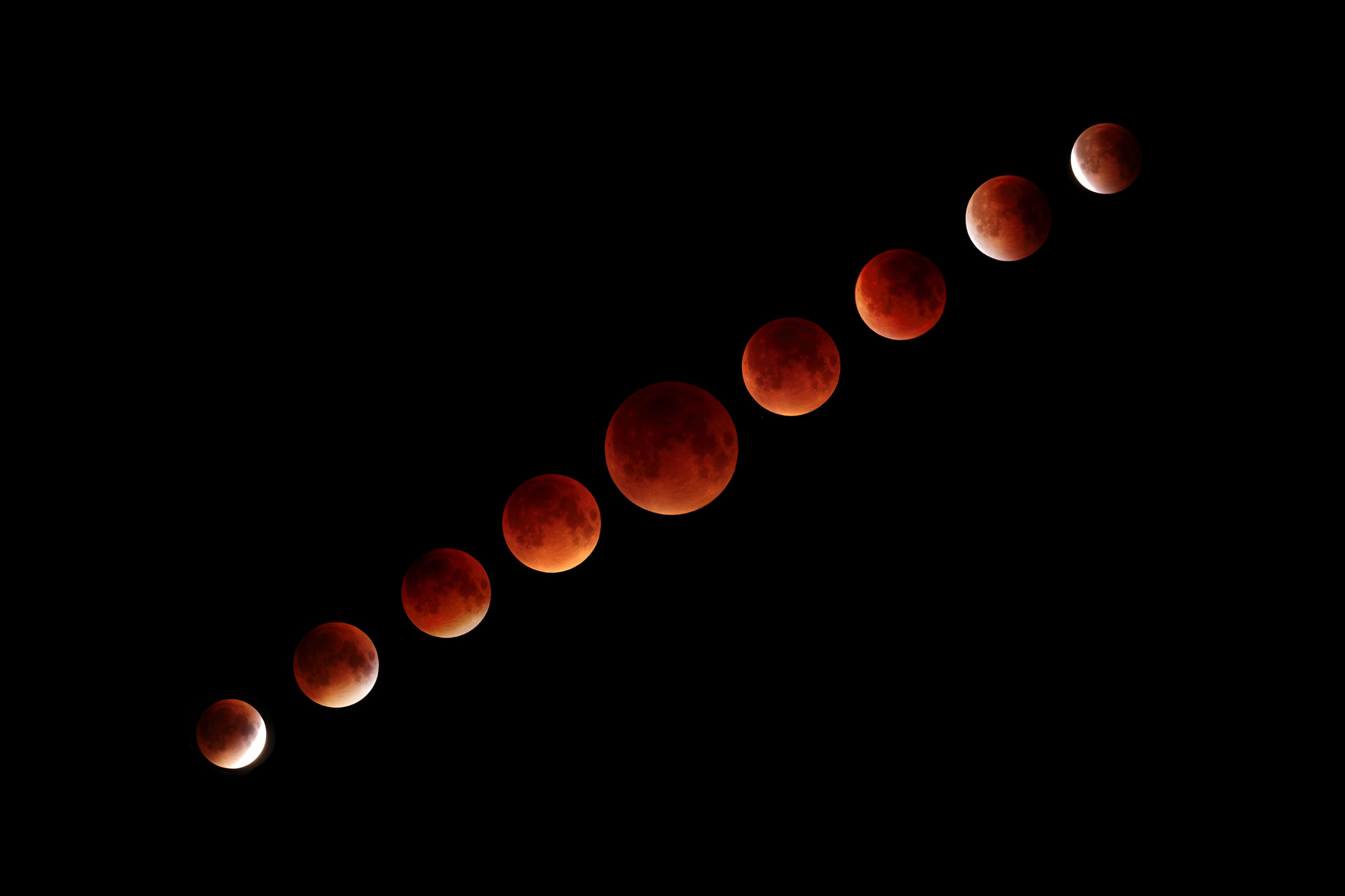 This is a collage of the 2015 Lunar Eclipse from start to fini  sh. The center image is the eclipse in full totality.
