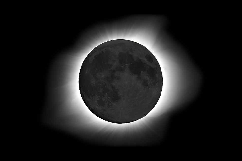 2017 Solar Eclipse / 2015 Full Moon Composite  This image is a combination of the Solar Eclipse of 2017 and Super Moon image of 2015 in order to show some texture to the eclipse.
