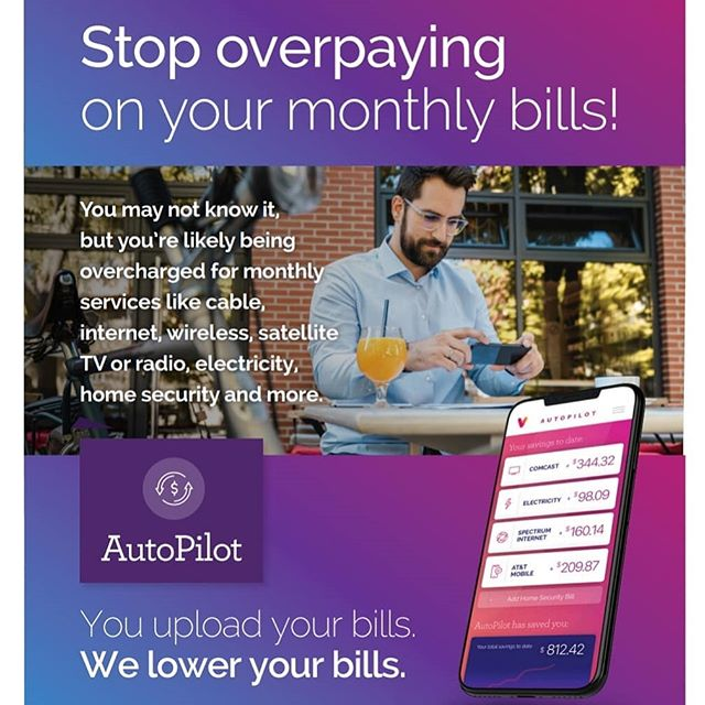 Did you know millions of Americans are overpaying $60 billion every year for basic services we all use like cable, Internet, wireless, satellite TV/radio and home security? We have incredible service called AutoPilot. It's so simple to use and you don't pay a penny unless they save you money. You just upload your bill to see how much you can save and we split the savings with you. Plus, AutoPilot can also manage finding the best energy rate in your market and manage your account by automatically monitoring the rates and switching your account onto the best plan.  #lifestyleservices #savemoney #billnegotiation #americans #money #internet #satellite #tv #lifestyle