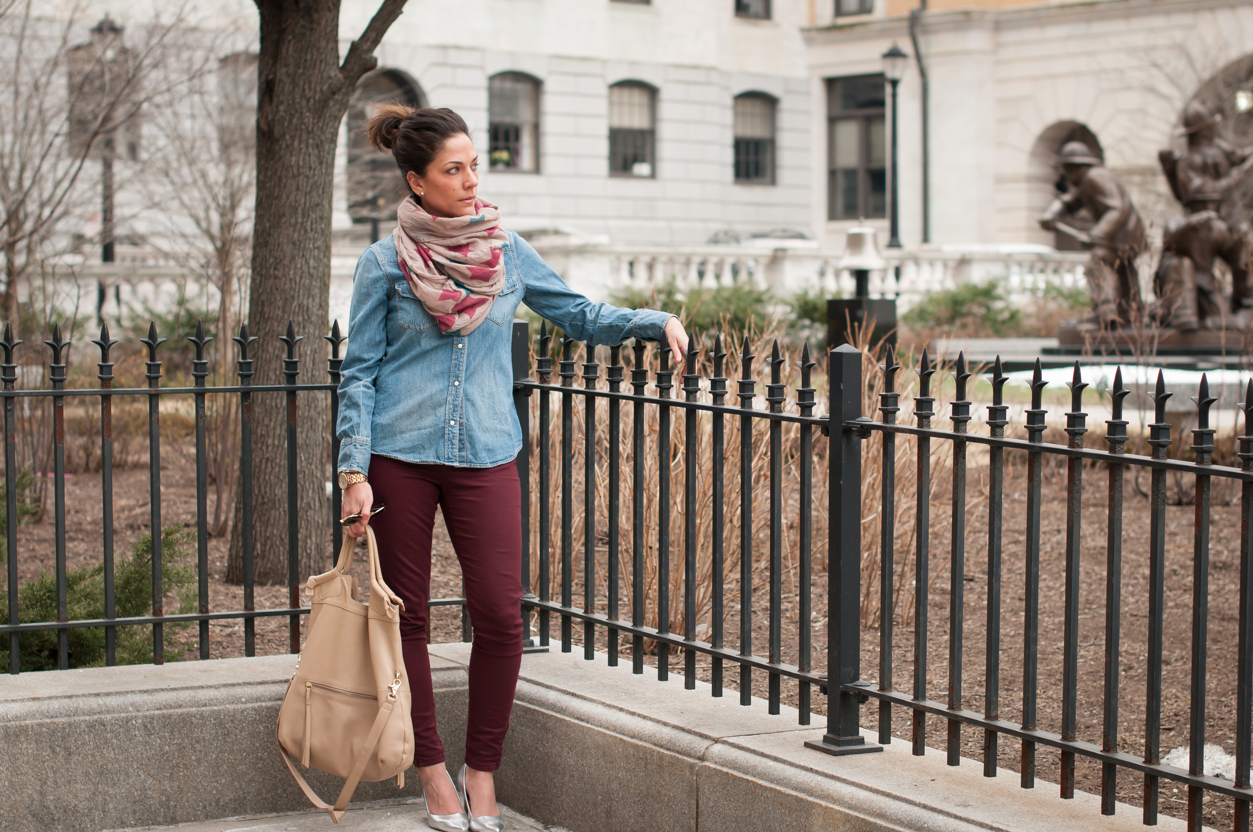 Zoe Emilie Star Infinity Scarf (GIFTED, find here ), J.Crew Denim Western shirt (old, see new color  here ), Zara Wine Colored Pants (old, see similar  here ), Foley and Corinna Mid City Tote ( here ), Silver Pumps (similar  here ).All Photos courtesy of William Mann Photography