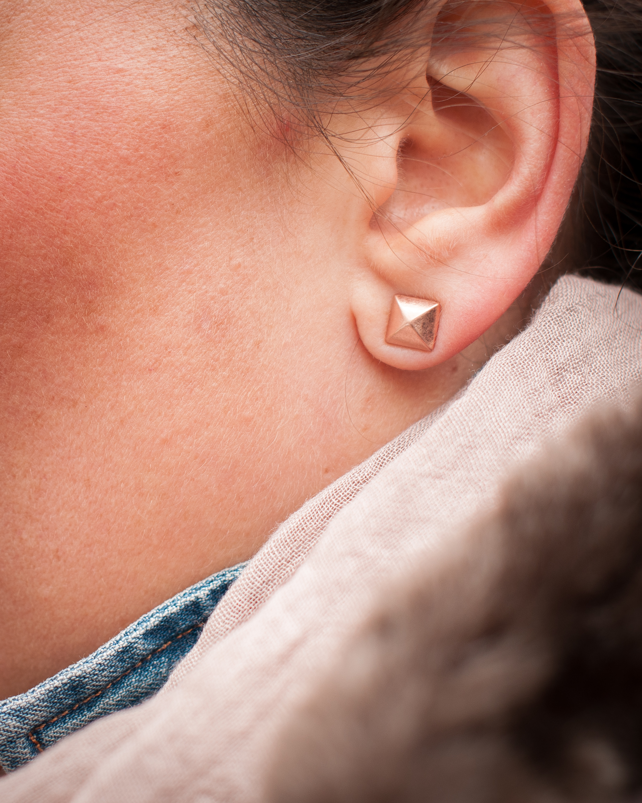 Zoe Emilie Rose Gold Spike Studs (GIFTED,  here ).