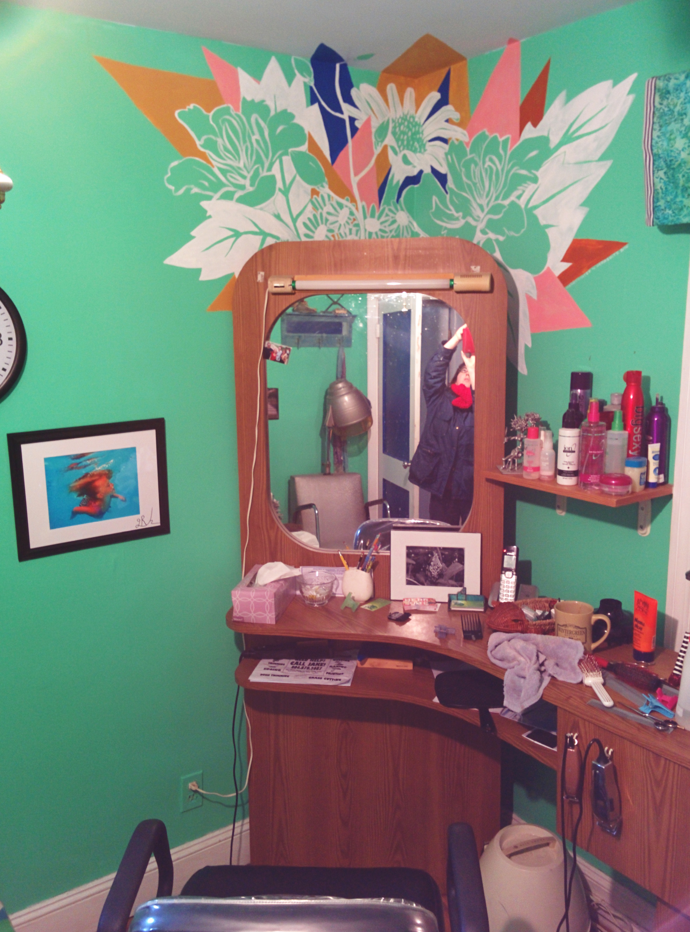 After moving the salon mirror back in place.