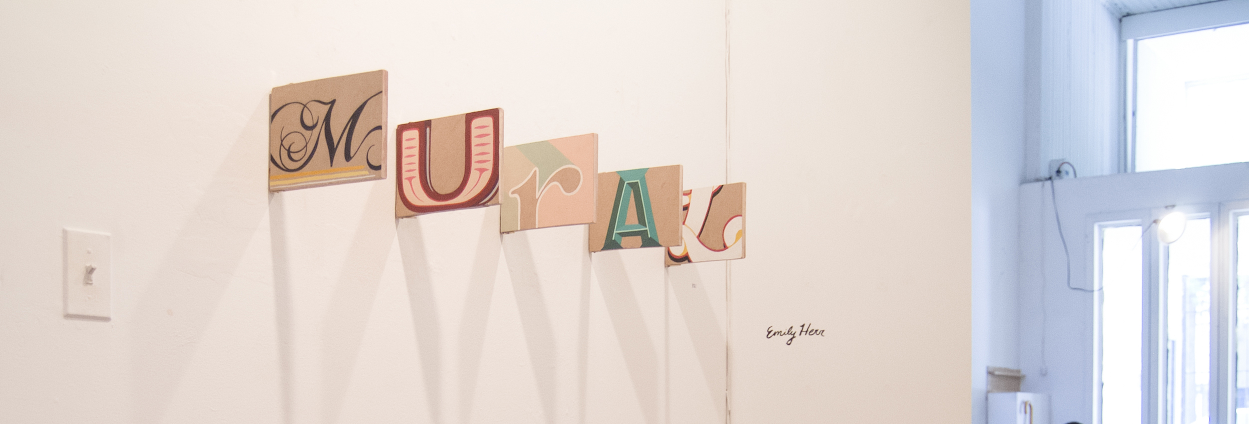 """I displayed these at the VCU Senior Show last year (the """"A"""" found a new home with some friends.) It was quite a trick to get them lined up as a word and leave both sides visible, but we figured it out just in time."""