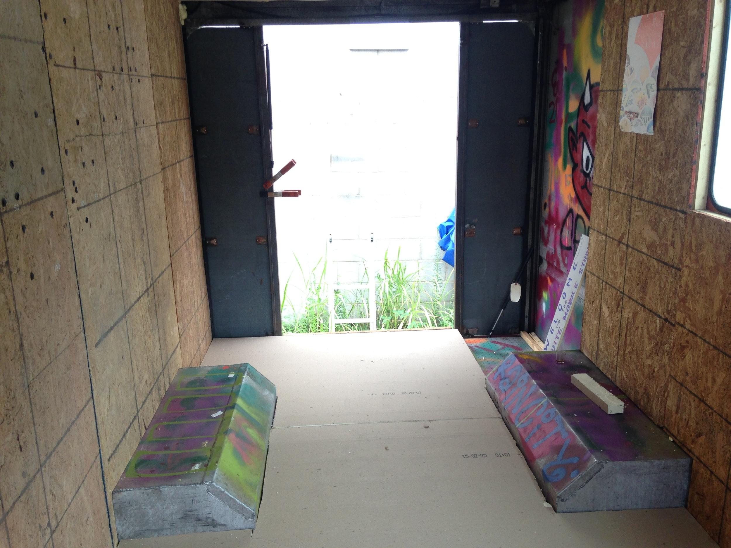 plywood walls in, floor insulation in