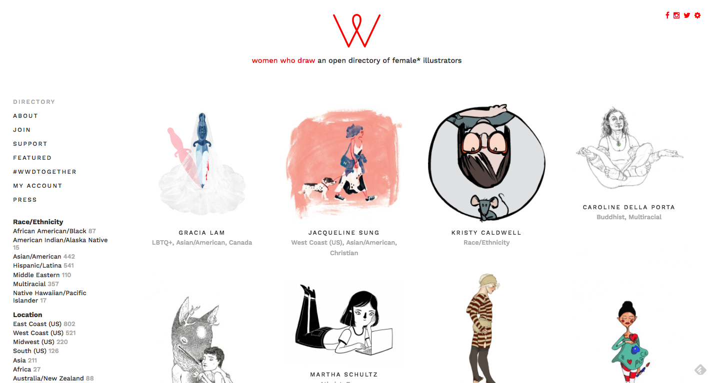 Women who draw - A directory of womxn illustrators, and a glorious example of myriad ways to represent female people.and an article about why this is important and exciting:http://www.bbc.com/news/world-us-canada-38524131