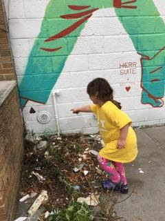 Also, we made a tiny friend, who requested we make a small addition to the mural