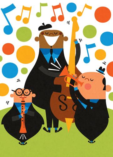 Title: Jazz Trio Illustrator: Steve Mack  All inquiries for images can be sent to:   Steve Mack  Illustrator  steve@stevemack.com    Lori Nowicki   Painted Words Licensing Agent  lori@painted-words.com
