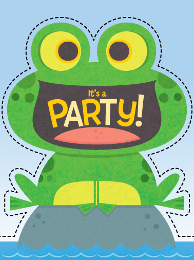 Title: Cute Frog Party Invite  Illustrator: Steve Mack  All inquiries for images can be sent to:   Steve Mack  Illustrator  steve@stevemack.com    Lori Nowicki   Painted Words Licensing Agent  lori@painted-words.com