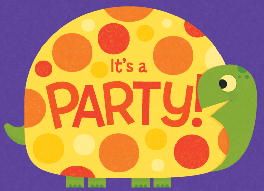Title: Cute Turtle Party  Illustrator: Steve Mack  All inquiries for images can be sent to:   Steve Mack  Illustrator  steve@stevemack.com    Lori Nowicki   Painted Words Licensing Agent  lori@painted-words.com