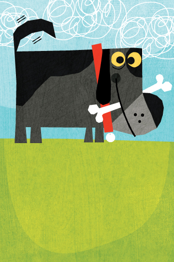 Title: Dog With A Bone Illustrator: Steve Mack  All inquiries for images can be sent to:   Steve Mack  Illustrator  steve@stevemack.com    Lori Nowicki   Painted Words Licensing Agent  lori@painted-words.com