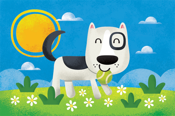 Title: Playful Dog Illustrator: Steve Mack  All inquiries for images can be sent to:   Steve Mack  Illustrator  steve@stevemack.com    Lori Nowicki   Painted Words Licensing Agent  lori@painted-words.com