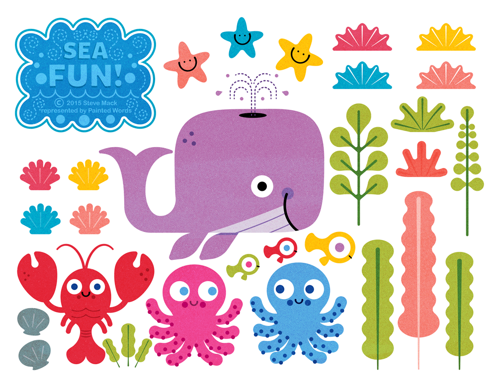 Title: Sea Fun Collection Part 2 By Steve Mack Illustrator: Steve Mack  All inquiries for images can be sent to:  Steve Mack Illustrator  steve@stevemack.com   Lori Nowicki  Painted Words Licensing Agent   lori@painted-words.com