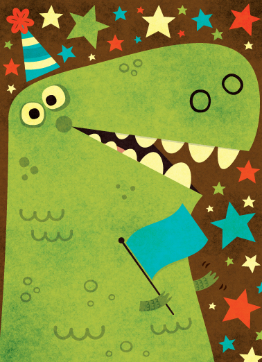 Title: Dinosaur Celebration  Client:American Greetings  Illustrator: Steve Mack  All inquiries for images can be sent to:  Steve Mack Illustrator  steve@stevemack.com   Lori Nowicki  Painted Words Licensing Agent   lori@painted-words.com