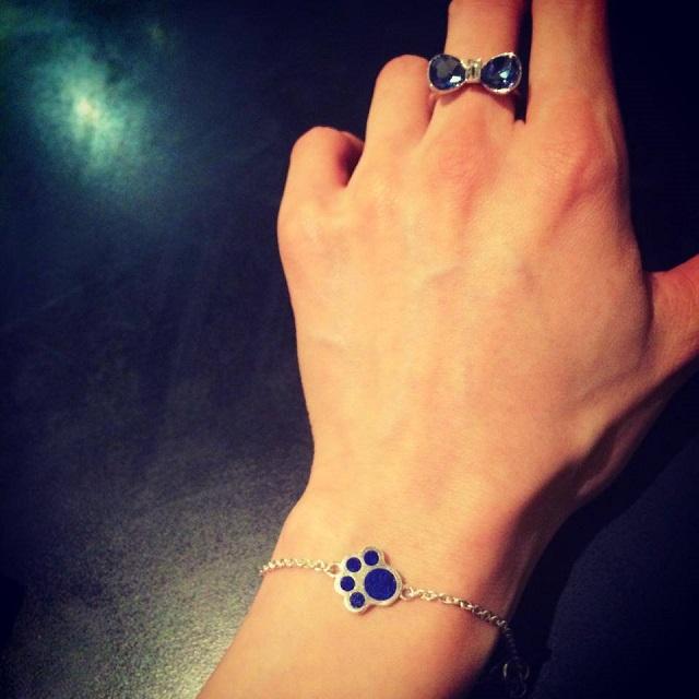 Paw Bracelet with Lapis Stones