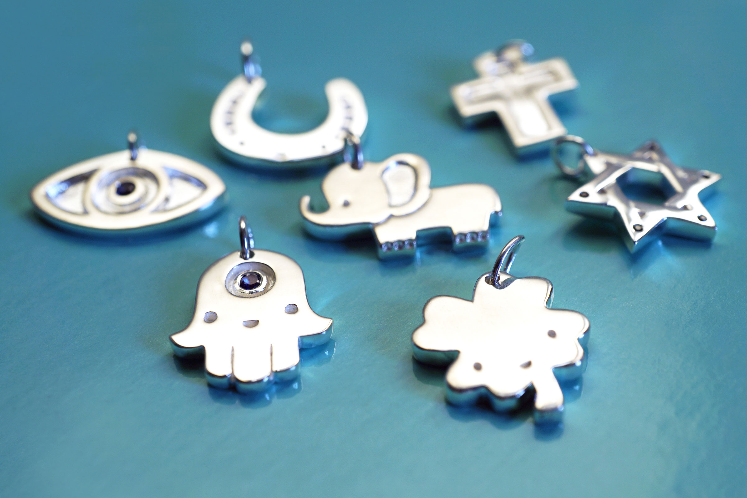 Consists of 7 symbolic and good luck charms, our new lucky Charms will bring lots of good fortune this holiday season and the coming new year.   Charms    $55 to $65