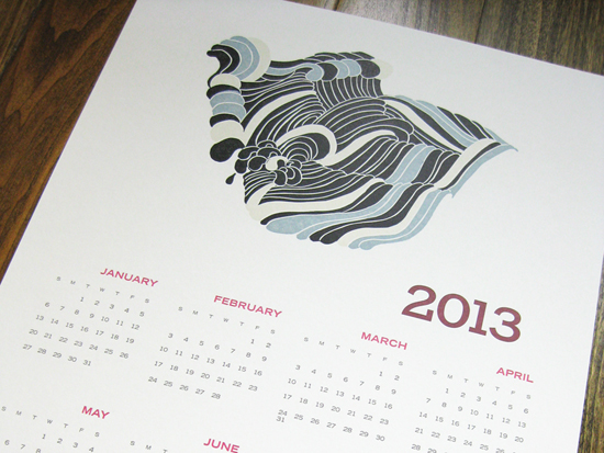 2013 Tiger Food Press Letterpress Calendar