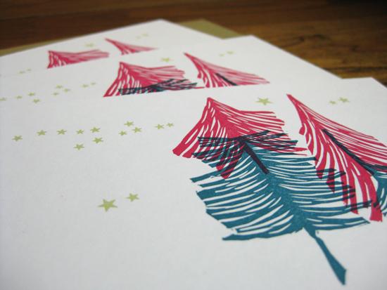 Tiger Food Press letterpress holiday cards
