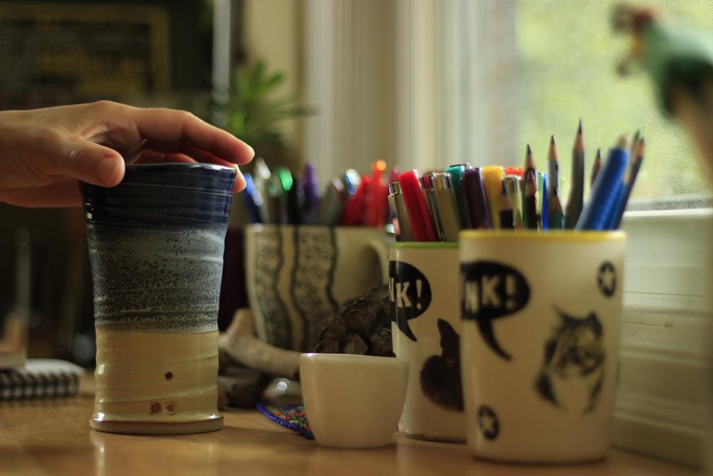 morning coffee in the bindery