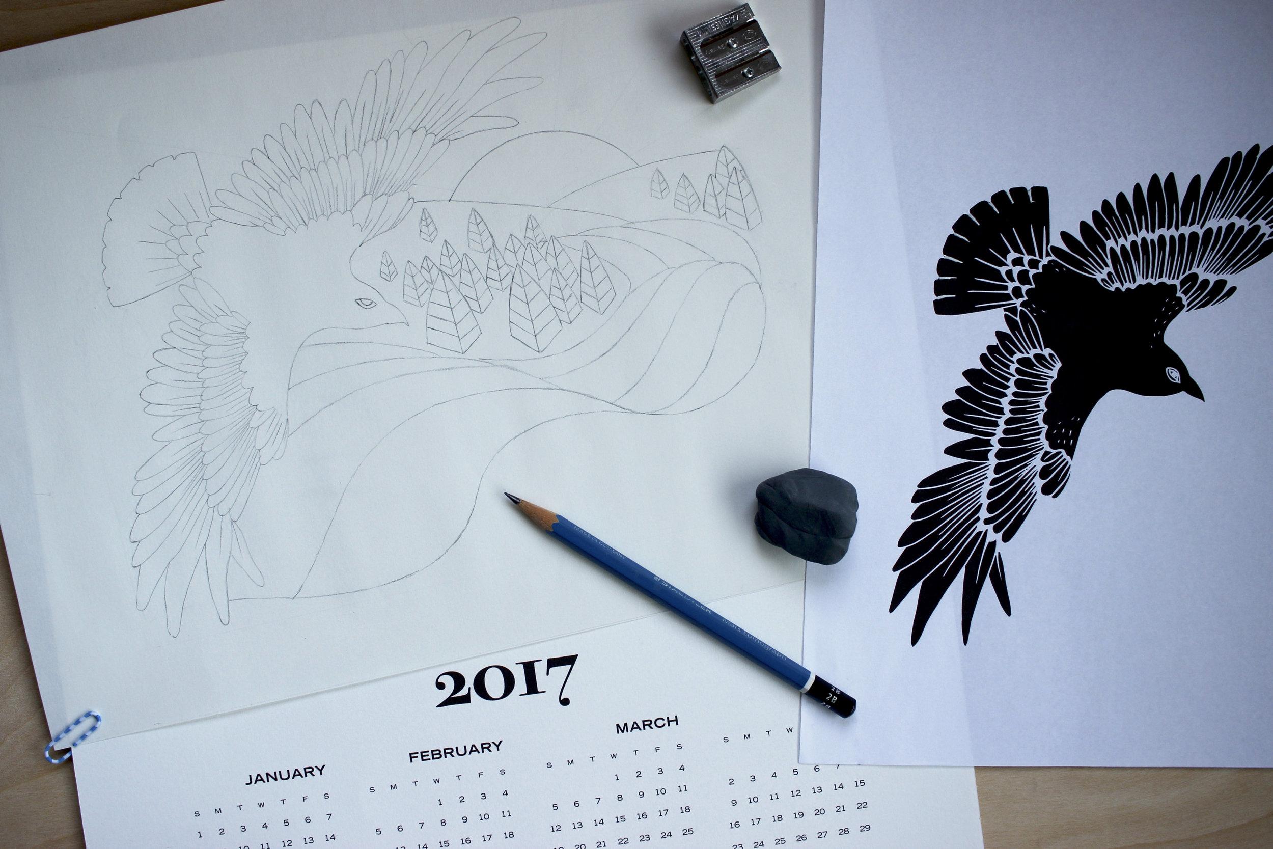 Tiger Food Press 2017 letterpress calendar sketch nearly complete