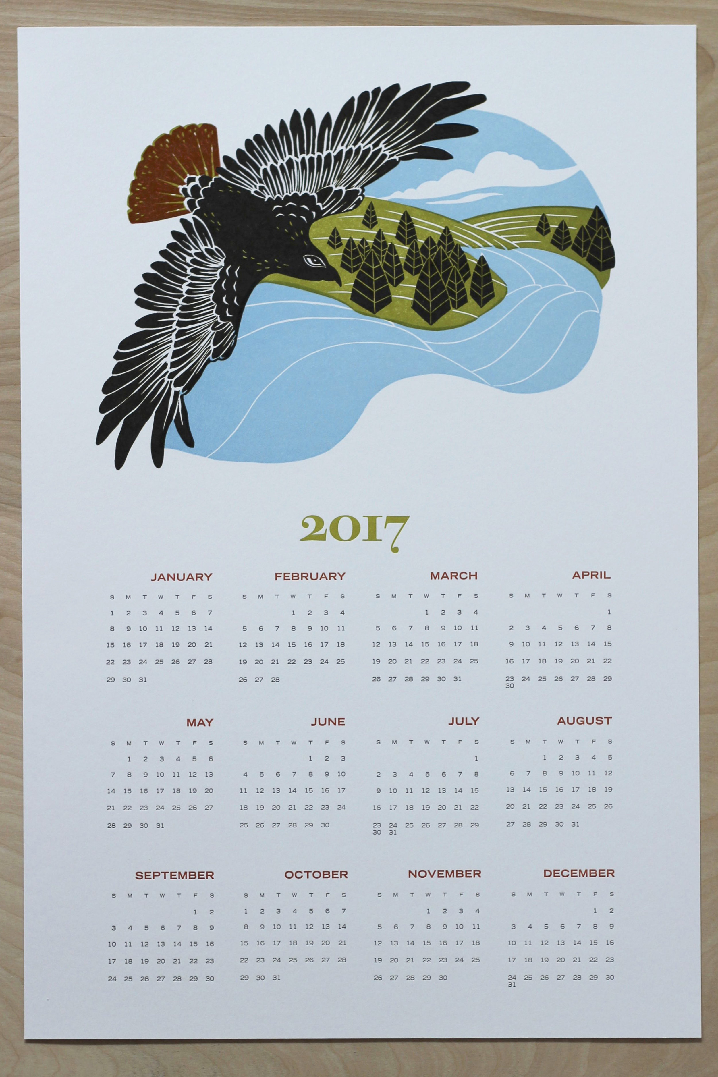 2017 letterpress printed wall calendar, year-at-a-glance poster calendar with red-tailed hawk linocut print.