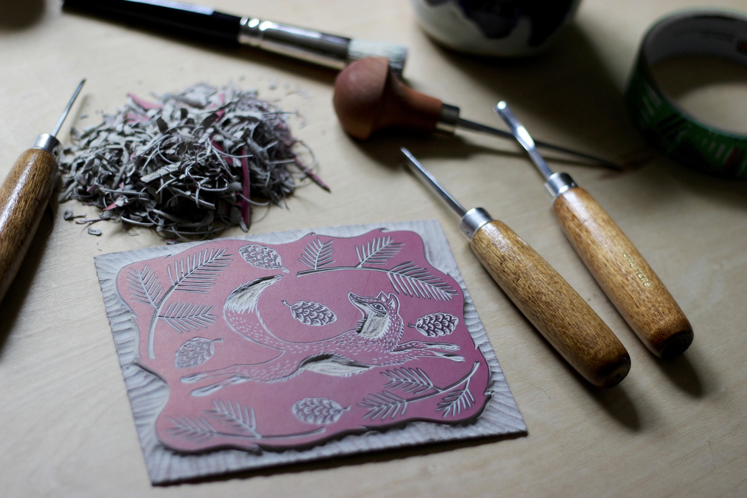 Fox linocut carving
