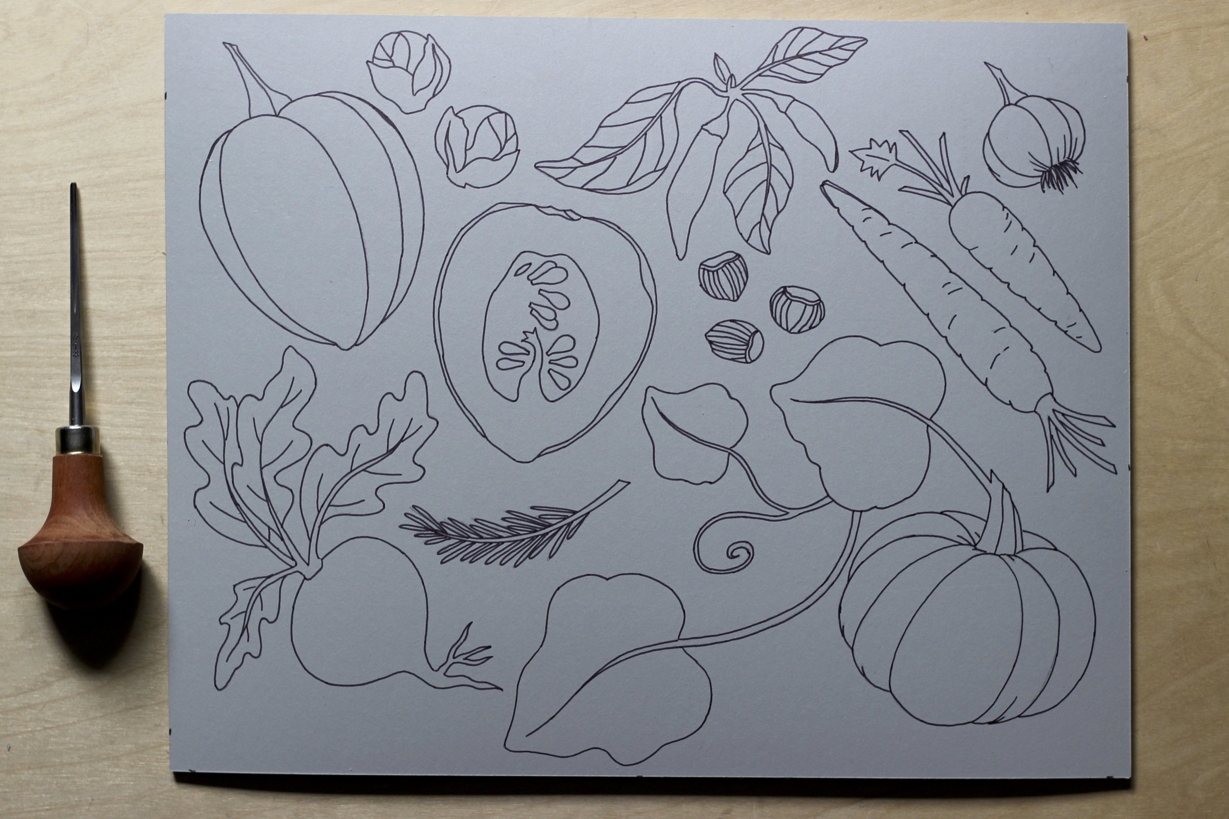 Garden harvest linocut ready to carve for gift wrap and tea towels