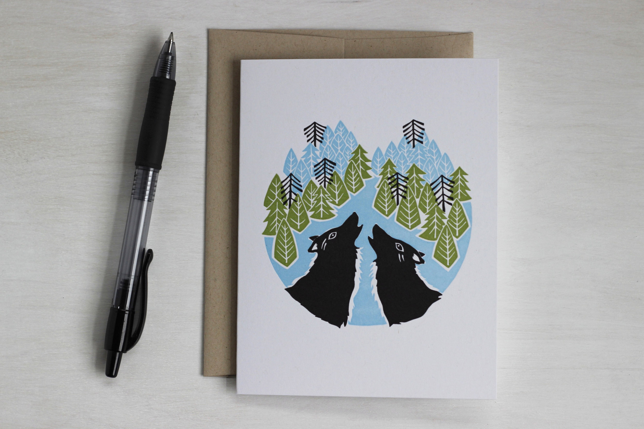 wolves howling letterpress card