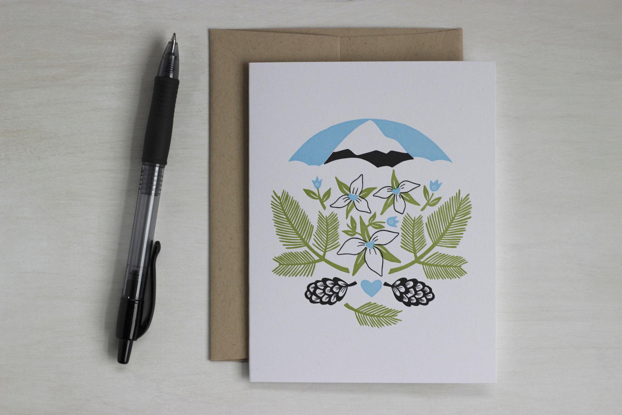 Trillium and Mt. Hood letterpress greeting card