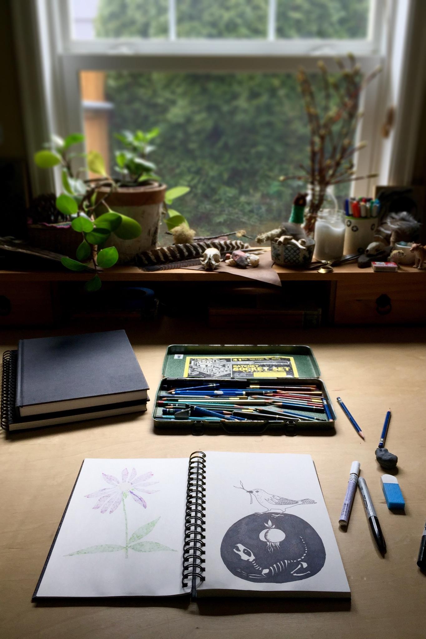 Tiger Food Press sketchbook and studio