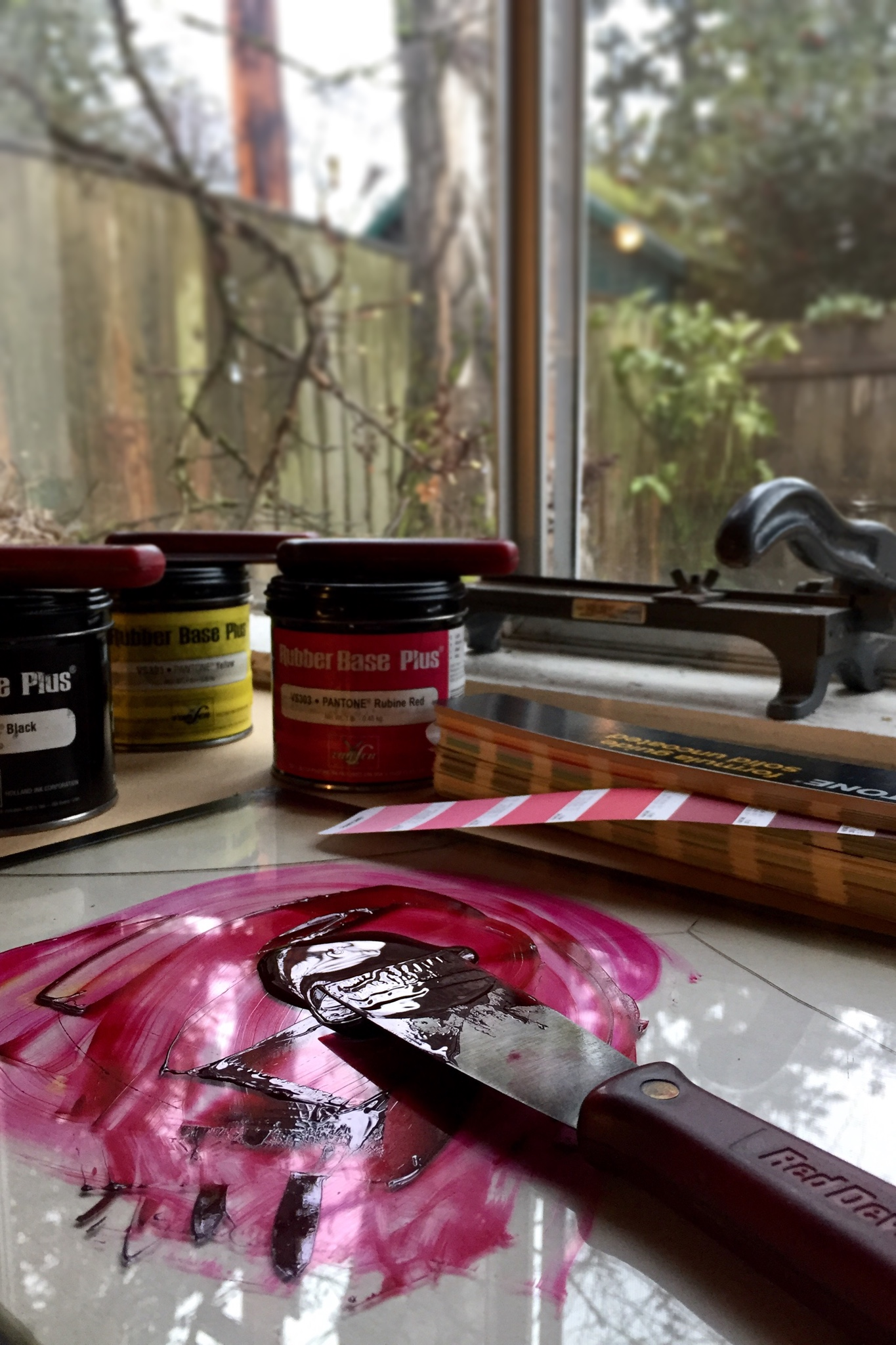 Tiger Food Press studio ink mixing