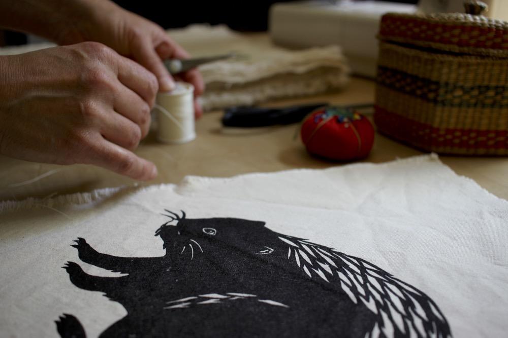 Block printed beaver pillow work in progress