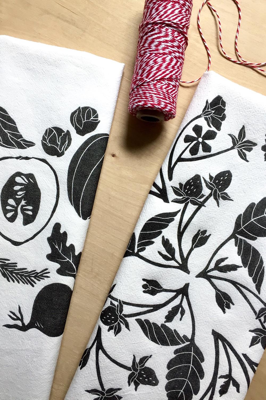 Block printed tea towels in botanical designs