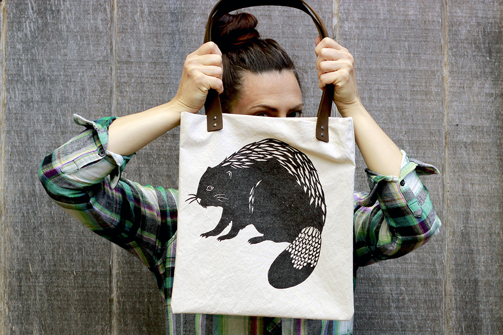 Block printed canvas and leather totebag