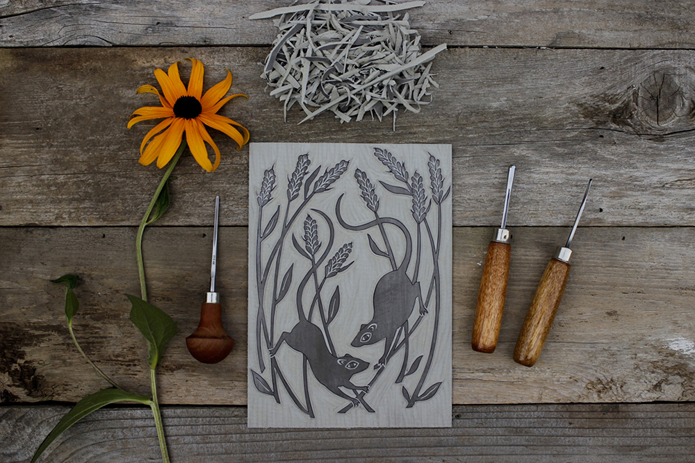 Mice linocut carved and ready to print