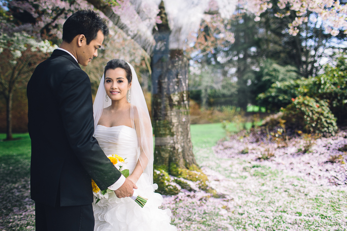 Vancouver Wedding Photography | Portrait of Alfred and Josephine with Minoru Chapel reflected in the background.